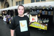 Trader Luke shows off one of the bird boxes for sale at Trowbridge's inaugural Teenage Market at the weekend
