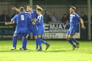 Chippenham celebrate Greg Tindle's late leveller against Chesham (Picture by Chippenham Town FC)