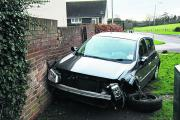 A wall was badly damaged by a Renault Megane after it was in collision with a Mercedes Sprinter van in Bridge Avenue, Trowbridge