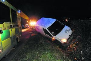 Lucky escape for driver as van leaves road near Westbury