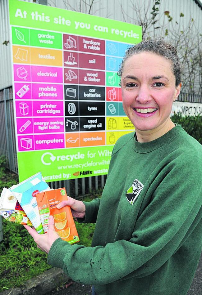 Emma Croft, of Wiltshire Wildlife Trust, recycling cartons