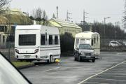 Travellers at Chippenham railway station car park today. Picture by Siobhan Boyle