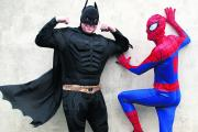 Ben Cherry, left, and Ben Veal, right, are running the 2015 Bath Half Marathon in March dressed as Batman and Spider-Man