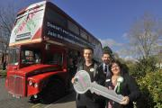 The Homes for Britain campaign bus in Trowbridge on Friday. Front from left are; Sam Platt from Bath based housing support agency Curo with Paul Walsh and Alison Christy of Selwood Housing who are supporting the campaign.Glenn Phillips (55223-4) (1955497