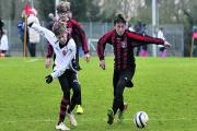 U13s action (above) from the semi final between Warminster Highbury v AFC Corsham (white)