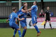 Ashan Holgate is mobbed after scoring Chippenham Town's winner against league leaders Poole Town (Picture: Chippenham Town FC)