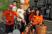 Ian Owen and partner Vanessa Gents, who are raising money for the Multiple Sclerosis Society, with Emily Gent, Ben Land, Frank Stansfield, Vicky Tomlin and Kivon Christodoulou who are helping with events at the Stallards Inn
