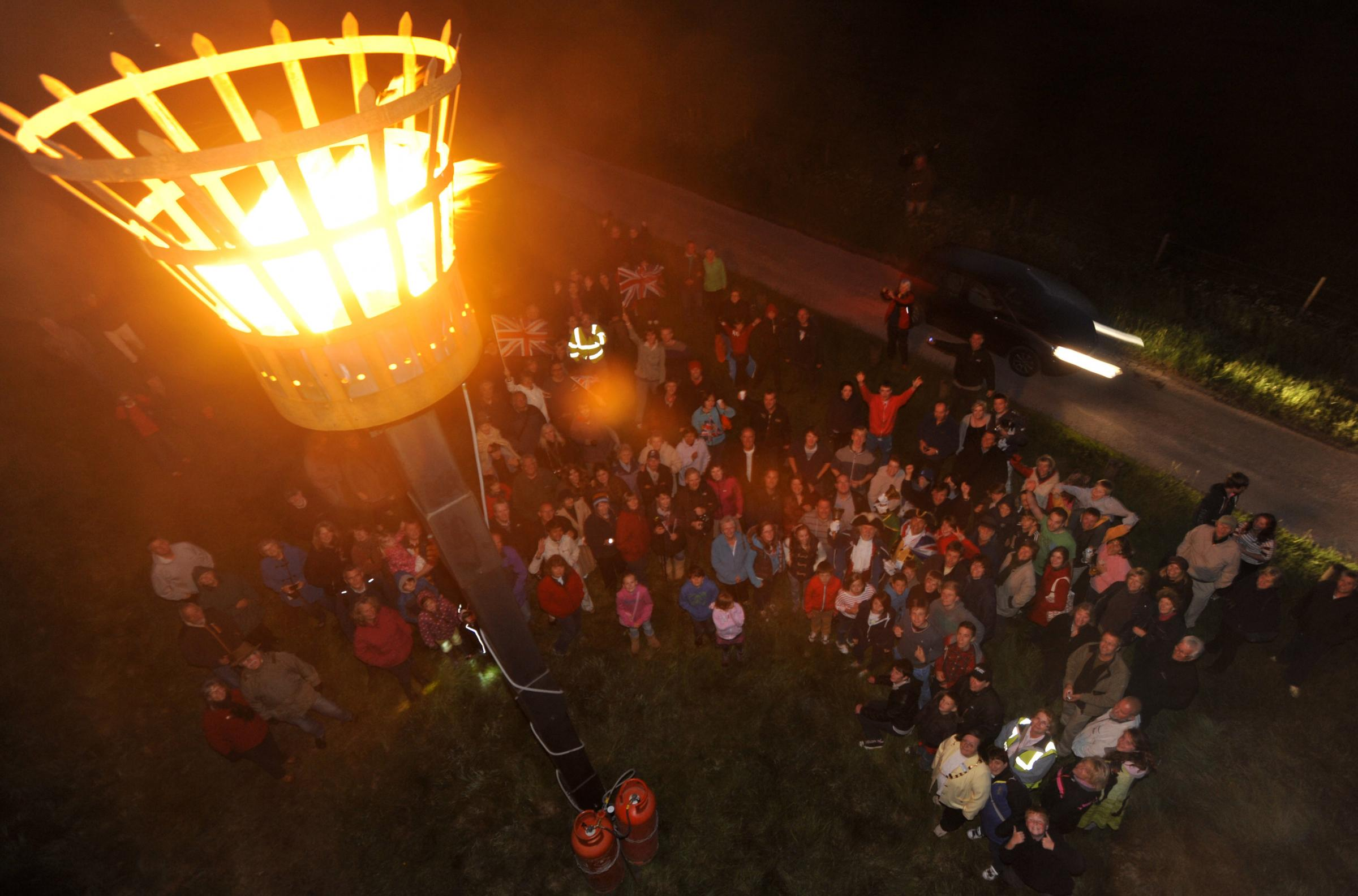 The Jubilee Beacon when it was lit on top of the Westbury White Horse 41699-1 Picture by GPHILLIPS (24783322)