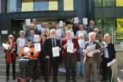 Campaigners at County Hall with the petition to save the Hopper BusPics Trevor Porter (51439 5)