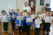 Community events manager Lisa Litterick with the school council at Westbury Infants