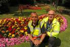 Sharl Adabashi, Chair of Friends of Trowbridge Park, and Bill Austin, Head of Direct Services at Trowbridge Town Council, in the Park. Pics Trevor Porter (50091)