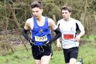 Will Stockley (West Wilts) leads Elliot Lassiter (Kennet) on his way to senior boys victory