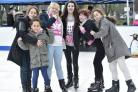 Trowbridge Park is transformed into an Ice skating rink for young people. L-R Friends Mica Samuel, Demi Holton, Kaitlyn Morgan-Hemmings, Lucy Smith and Khea Samuel. (Young girl not be to named)  Pics by Diane Vose DV2841/05.