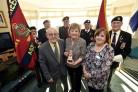 Bath and West Wilts Branch of the Royal Engineers  with L-R.Son Adrian Godwin, Daughter Sandra Clifford holding the Medal and Tracy Williams Home Manager.  Pics by Diane Vose DV2833/04