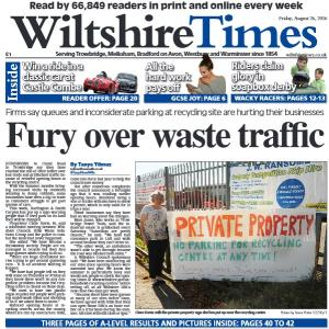 Wiltshire Times: Don't miss this week's new-look Wiltshire Times. Firms are being hit by queues and bad parking at recycling site - click here to find out more