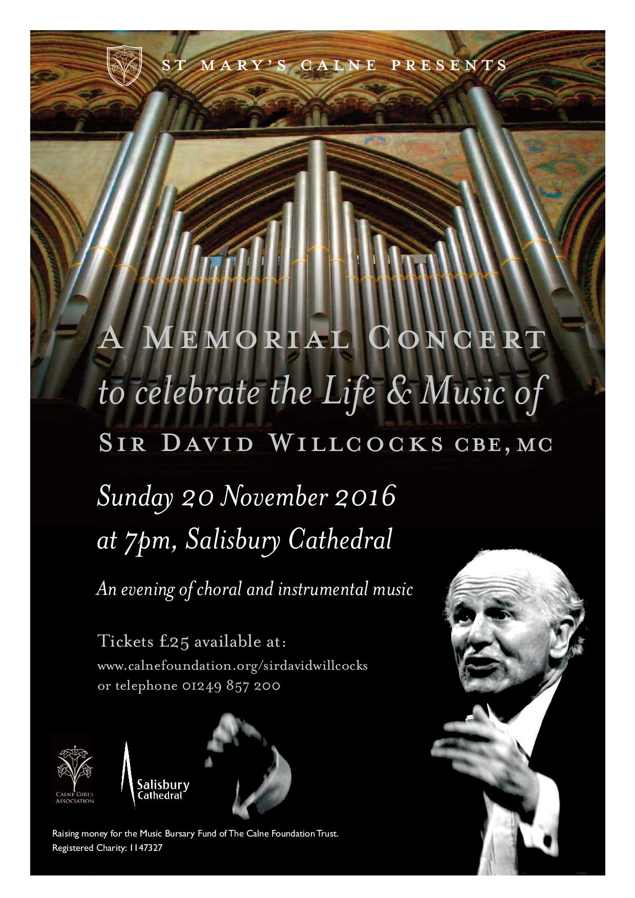 A memorial concert to celebrate the life and music of Sir David Willcocks CBE MC