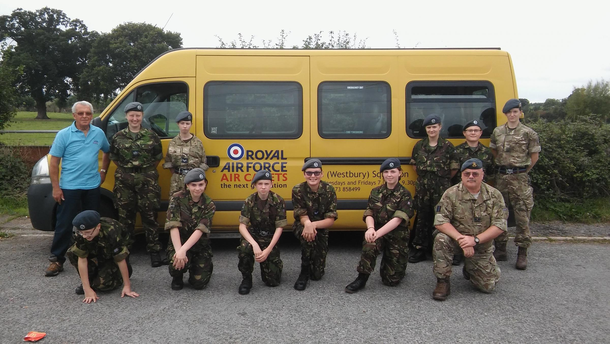 Westbury air cadets pictured at the Badminton ride