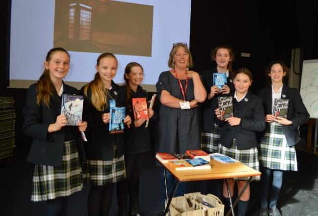 Author Fleur Hitchcock with Stonar pupils