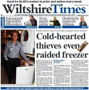 Wiltshire Times: Don't miss this week's new-look Wiltshire Times. Magnum theft was no joke for a Staverton family