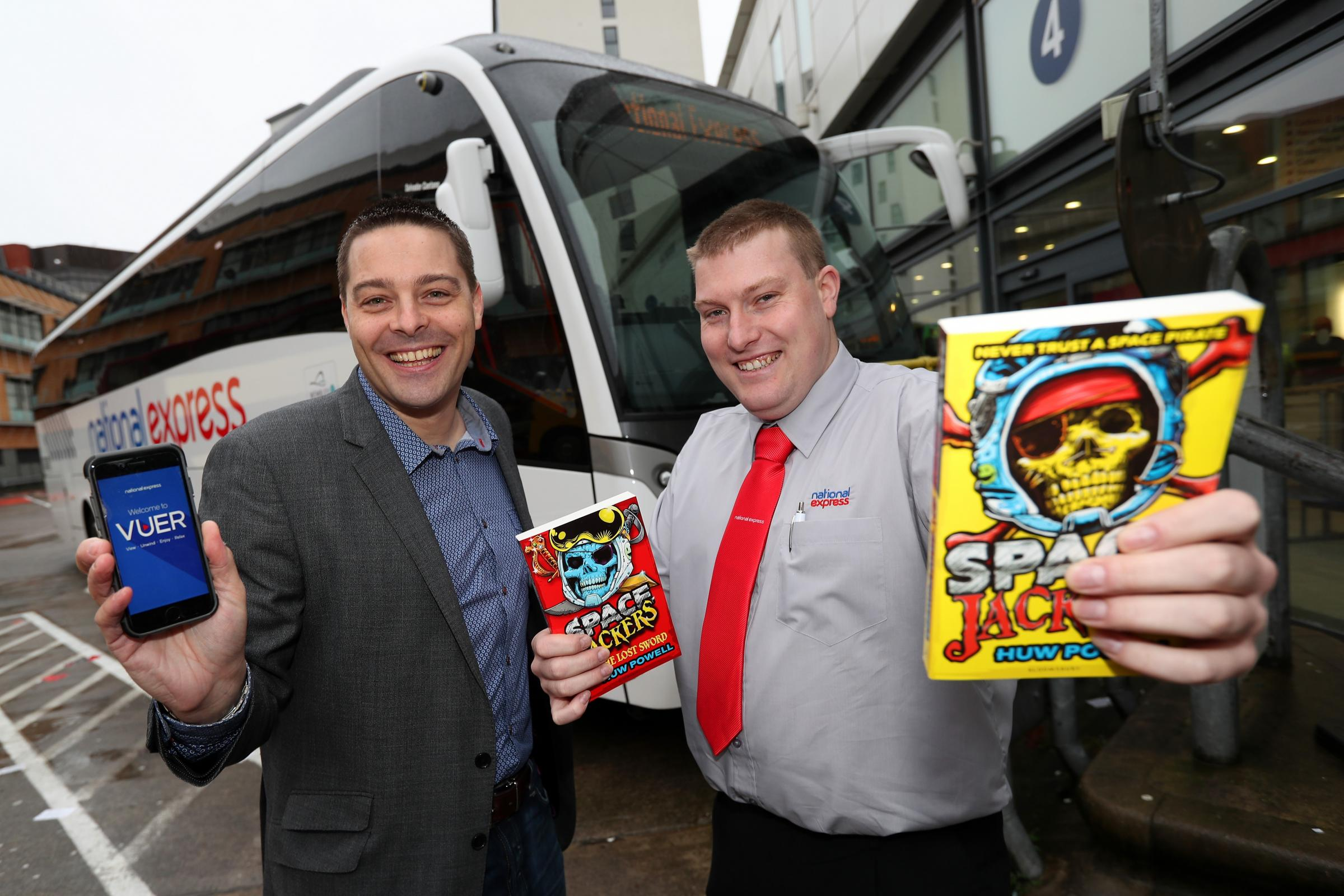 Author Huw Powell with National Express Driver Alex Holland
