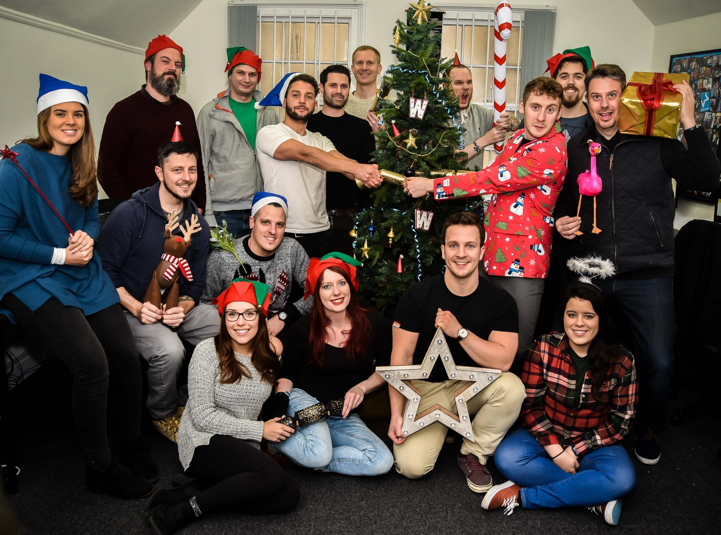WebCreation staff getting into the Christmas spirit at their Trowbridge office. Picture by Glenn Phillips GP605