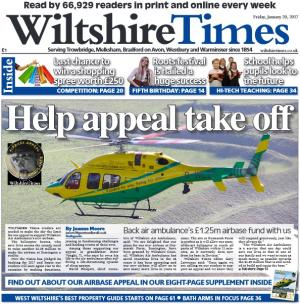 Wiltshire Times: TImes readers are needed to make the  sky the limit  for our appeal to support Wiltshire Air Ambulance's new airbase