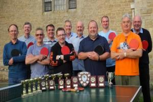 Beanacre Table Tennis Club's (l-r)  Bob Griffiths, Phillip Back, Mark Lambe, Paul Drage, Adam Dawes, Ken Elborn, Steve Walker, Keith Holland, Chris Bultitude, Shaun Eagles, Sean Hughes
