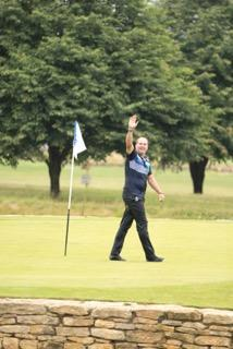 John E Morgan celebrates his hole-in-one at Cumberwell Park on Tuesday (Picture: ANDY TOZER)