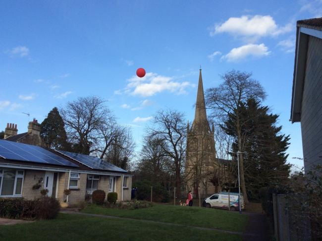 The red balloon indicates the likely height of the proposed phone mast.