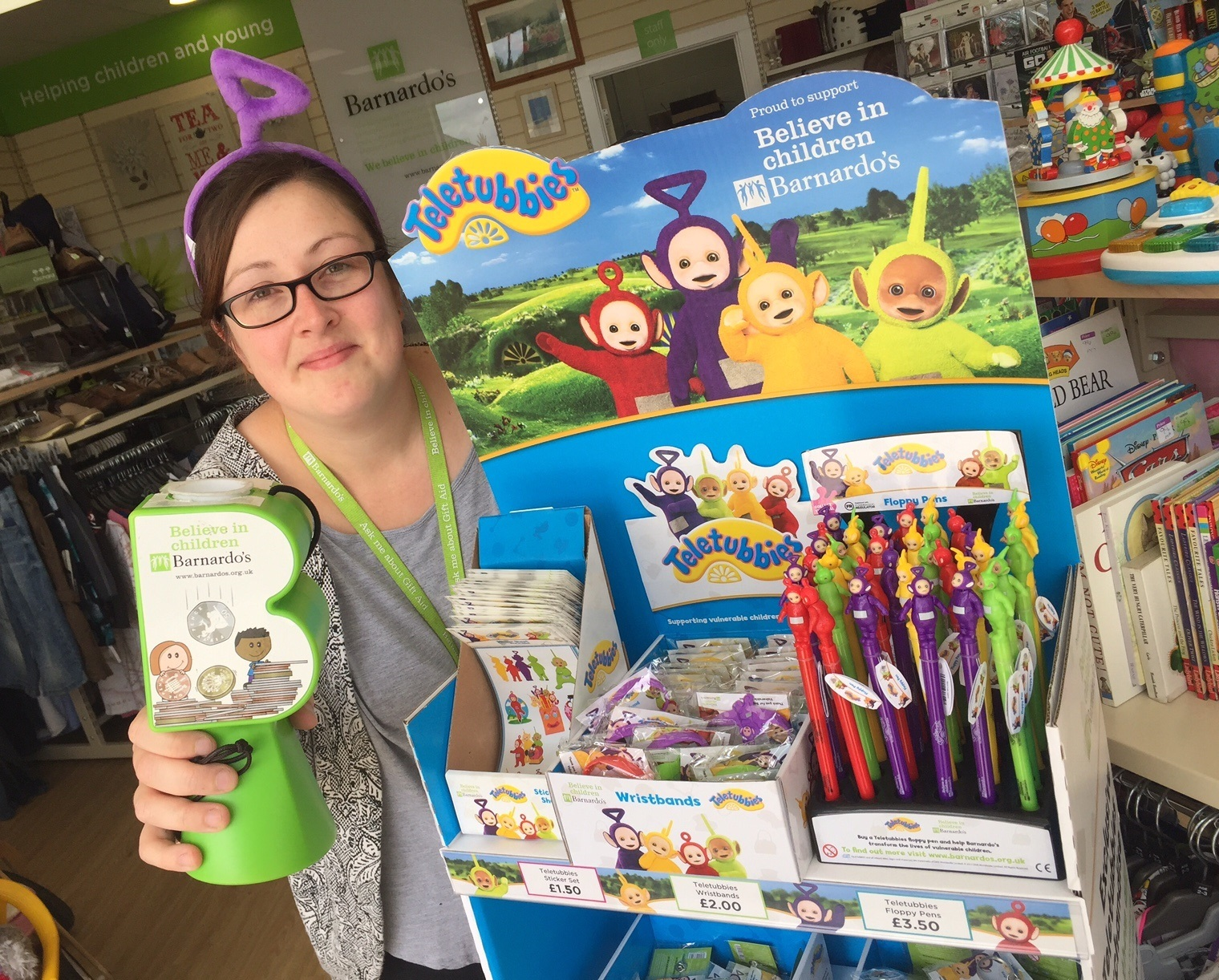 Barnardo's Melksham store manager Helen West with Teletubbies.