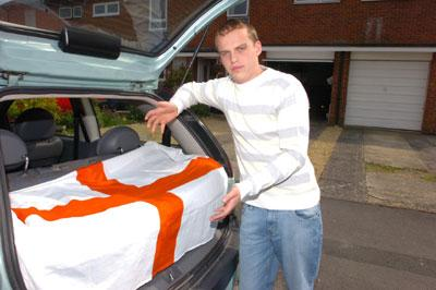 Ben Smith with the St George flag in his car