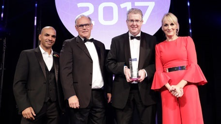 Jass Sarai, Partner, Technology Leader, Price Waterhouse Cooper; Paul Eccleston, Head of Private Equity, Rigby Group plc; Rob Hart, Chief Financial Officer, AB Dynamics plc; and awards ceremony host, BBC news presenter Louise Minchin.