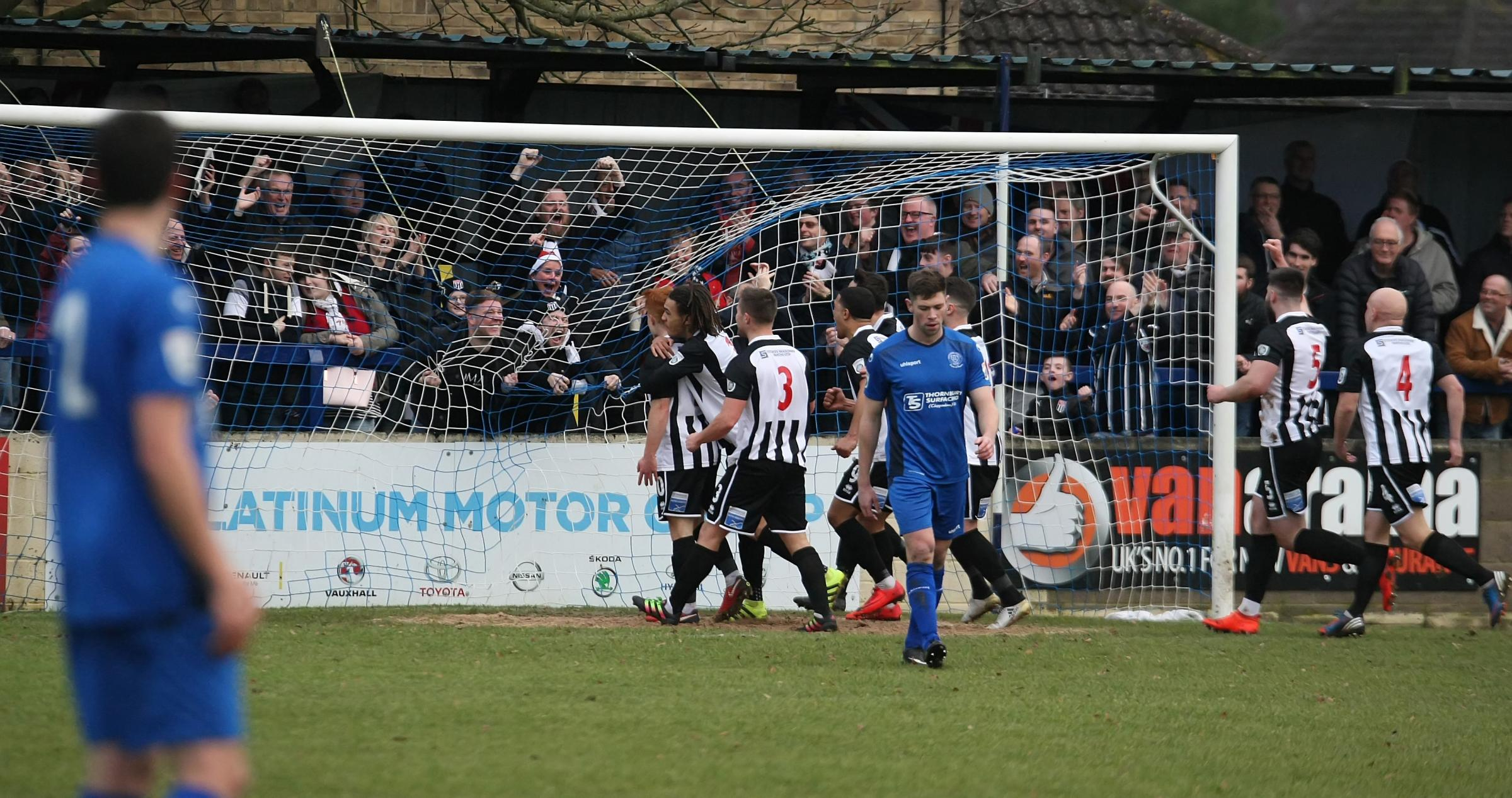 Bath City celebrate their opening goal from Tom Smith (Picture: ROBIN FOSTER)