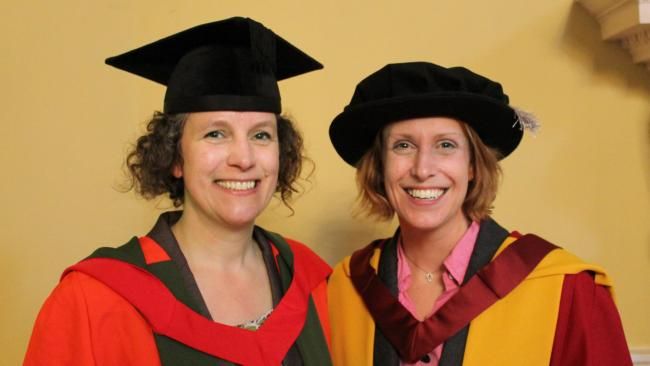 Dr Tina Skinner on the left and Dr Helen Ross at the graduation