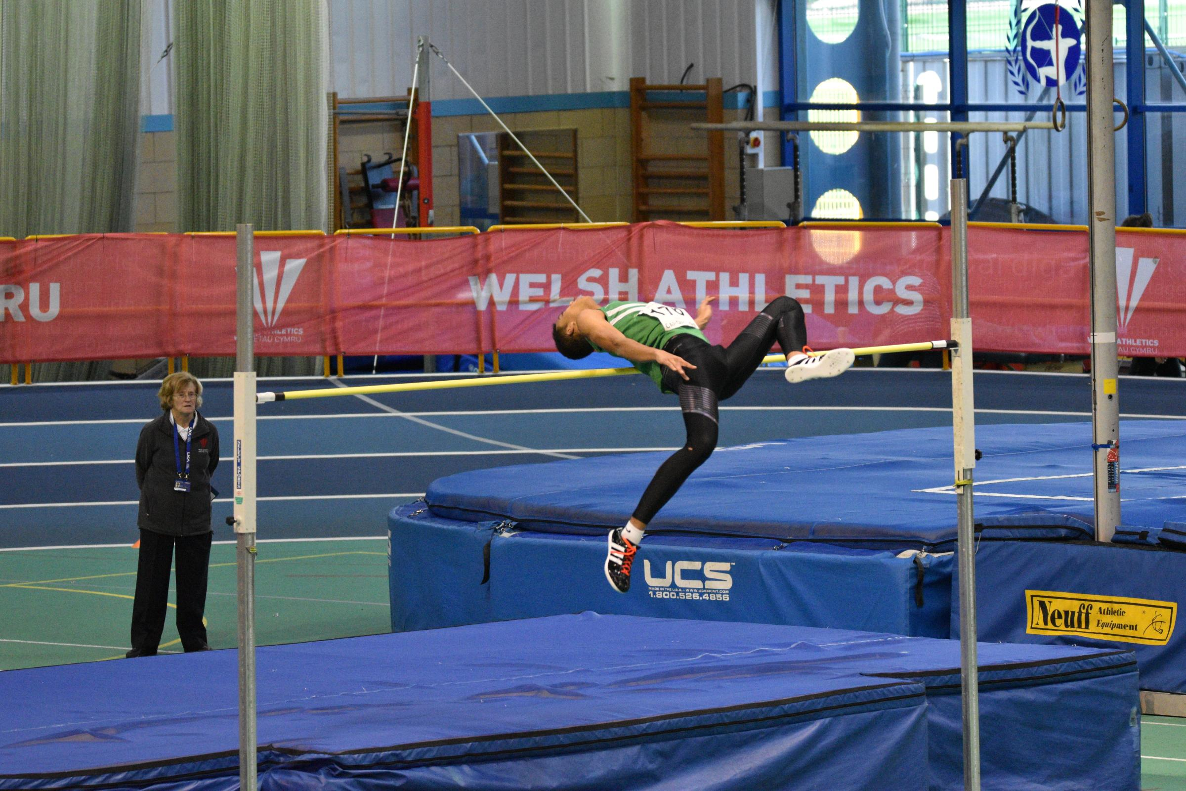 Tom Gale setting his personal best at the Wales Indoor Championships.