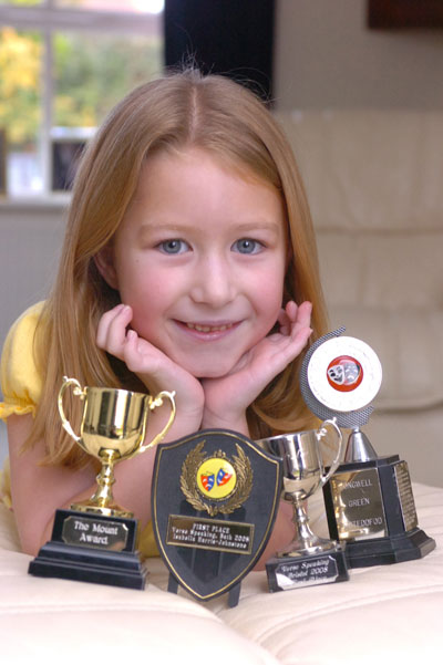 Isabella Harris with her collection of drama awards Photo: Trevor Porter (24081)