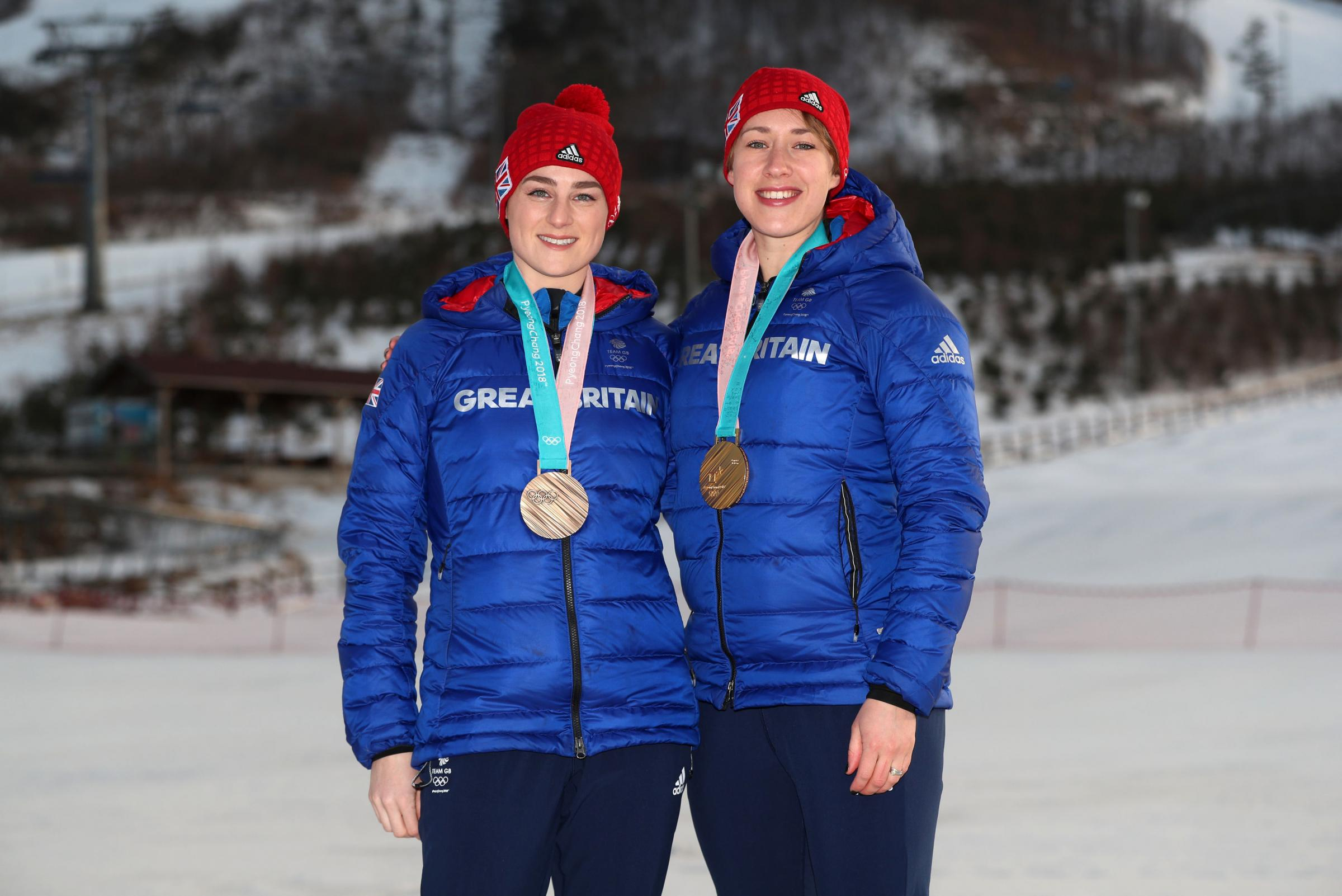 Melksham-based Laura Deas (left) and Great Britain teammate Lizzy Yarnold show off their bronze and gold medals respectively from the Winter Olympics in Pyeongchang