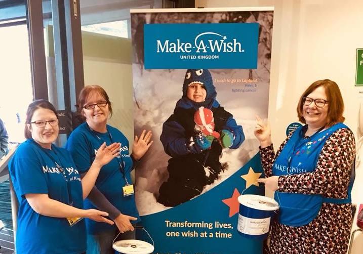 Staff at Make a Wish collecting in Waitrose Warminster with their poster of Finn Martin