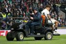 Anthony Watson leaves the pitch through injury during England's defeat to Ireland on Saturday
