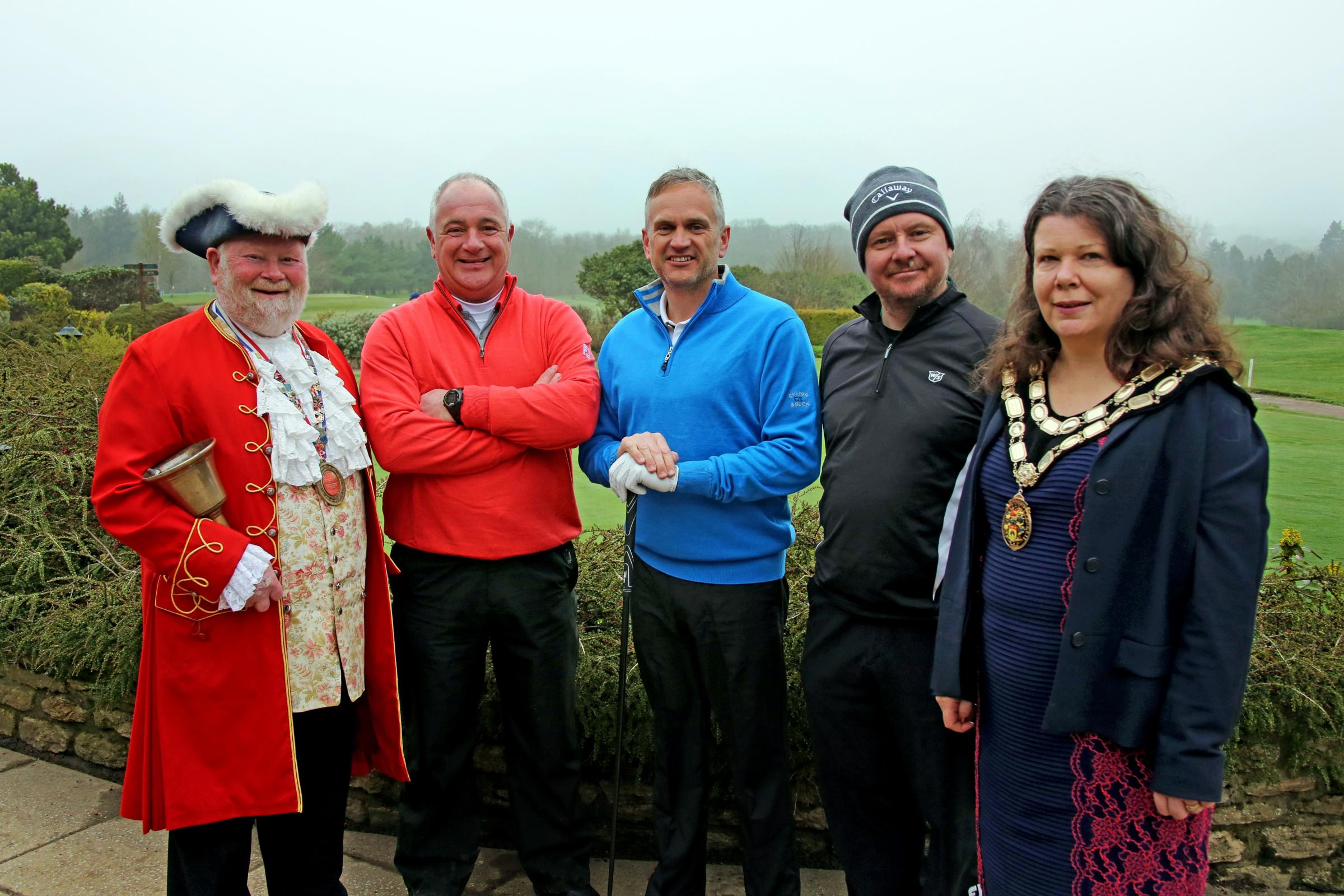 Trowbridge Town Crier Trevor Heeks, golfers Steve Morley, Steve Preston and John Hayes, along with Mayor Deborah Halik.