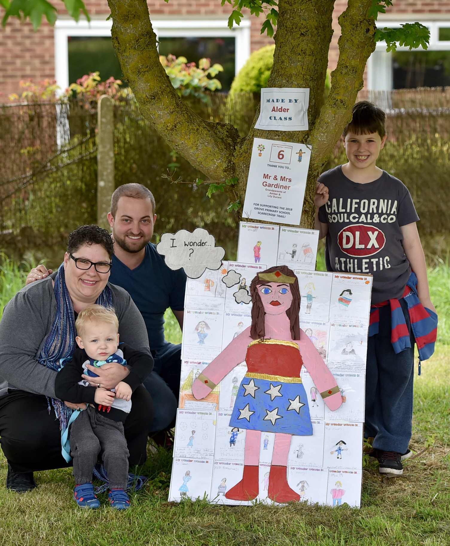 Gandhi, Guy Fawkes and Bear Grylls in Grove Primary's scarecrow trail