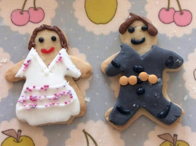 Gingerbread Prince Harry and Meghan Markle made at CookyKids