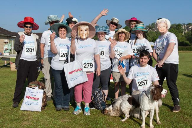 Walkers getting into the celebratory spirit at the start at Culver Close, Bradford on Avon