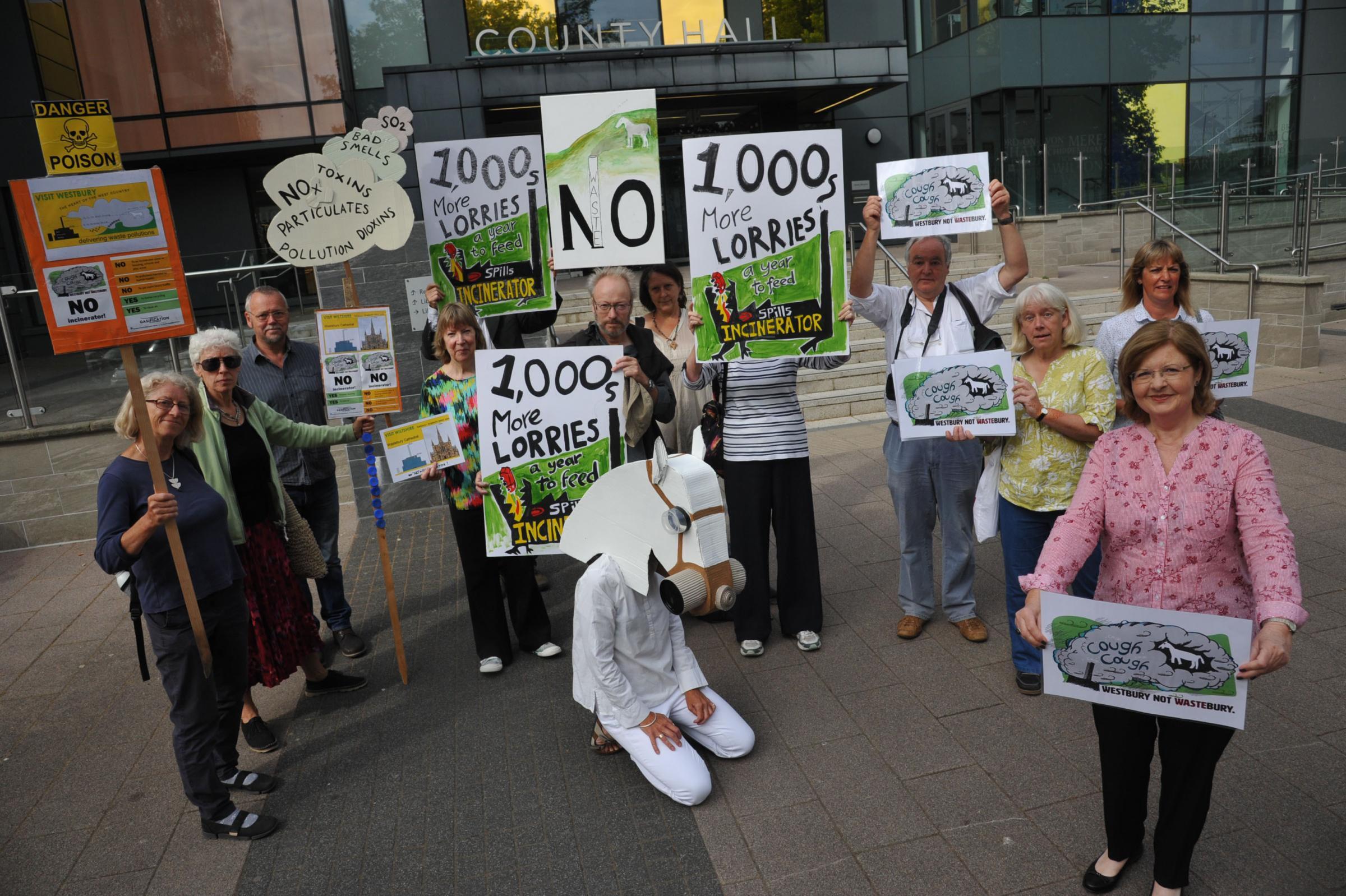 Margaret Cavanna with fellow protesters at County Hall in Trowbridge before Wednesday's meeting 							     Photo: Trevor Porter 59739/4