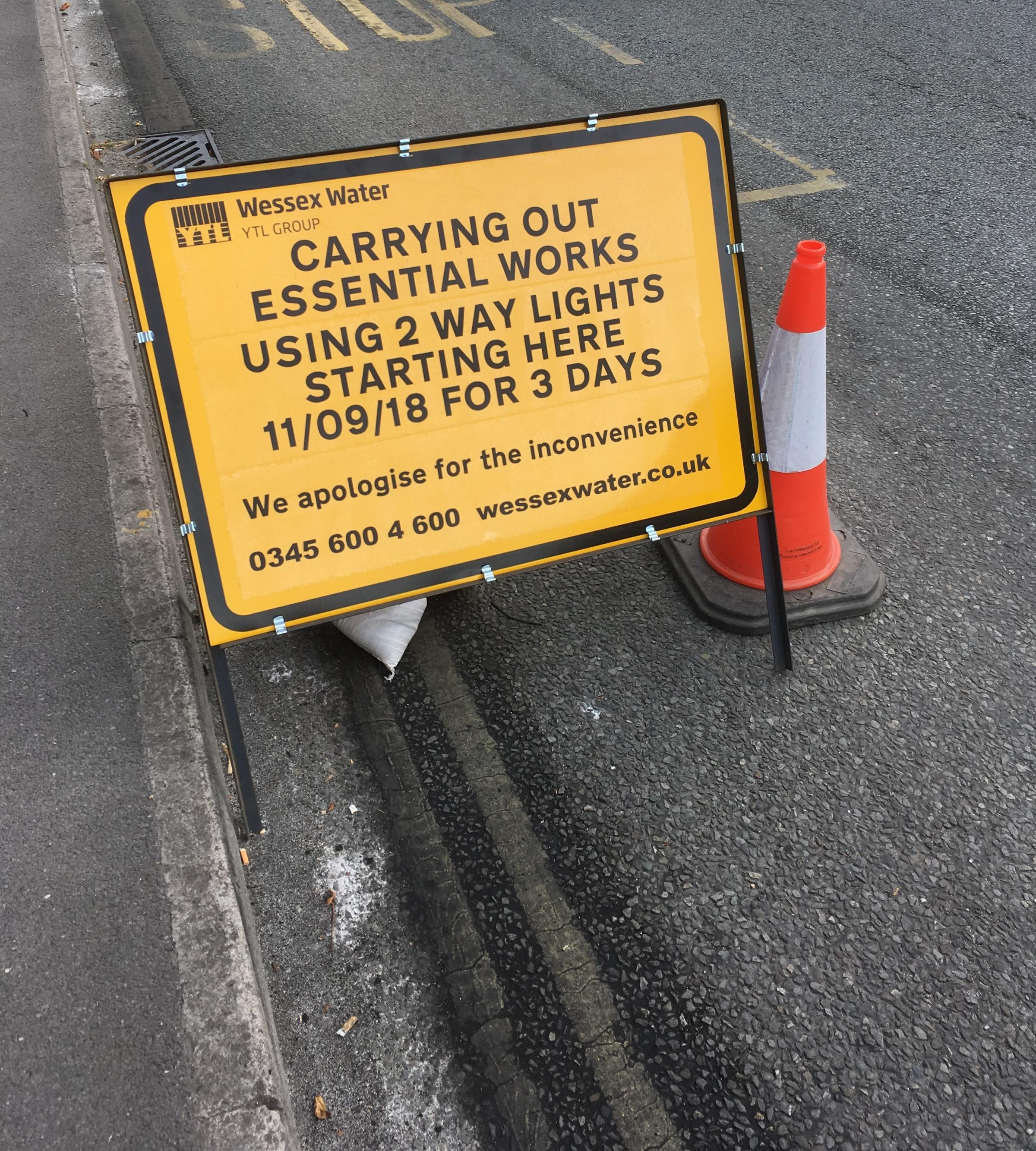 More roadworks on Trowbridge road that was the centre of traffic chaos