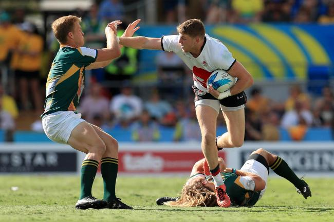 Ruaridh McConnochie (white) pictured for England during the Rugby Sevens Bronze medal match at this year's Commonwealth Games on the Gold Coast, in Australia