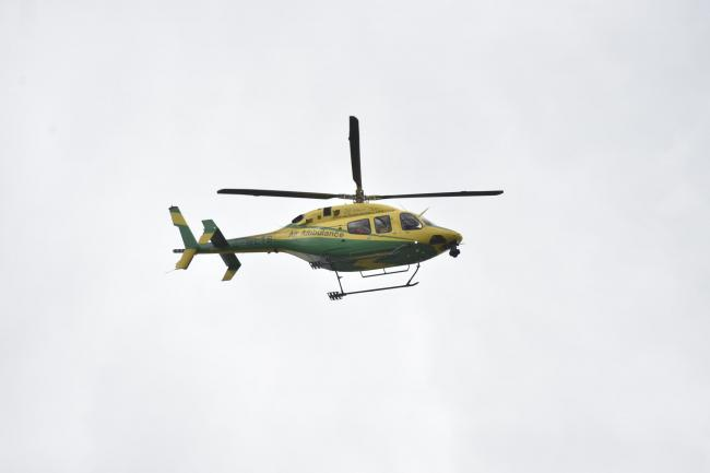 The Wiltshire Air Ambulance flies over the new site for the Wiltshire Air Ambulance support in Semington. April 2017. Pictures by Diane Vose DV5583/02.
