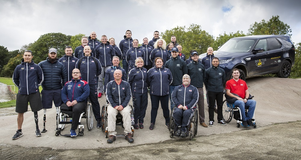 Retired Army Lieutenant Colonel Spencer Bull (front, centre) at the Invictus UK driving trials hosted by JLR at Eastnor Land Rover Driving Experience. Photo: James Robinson.