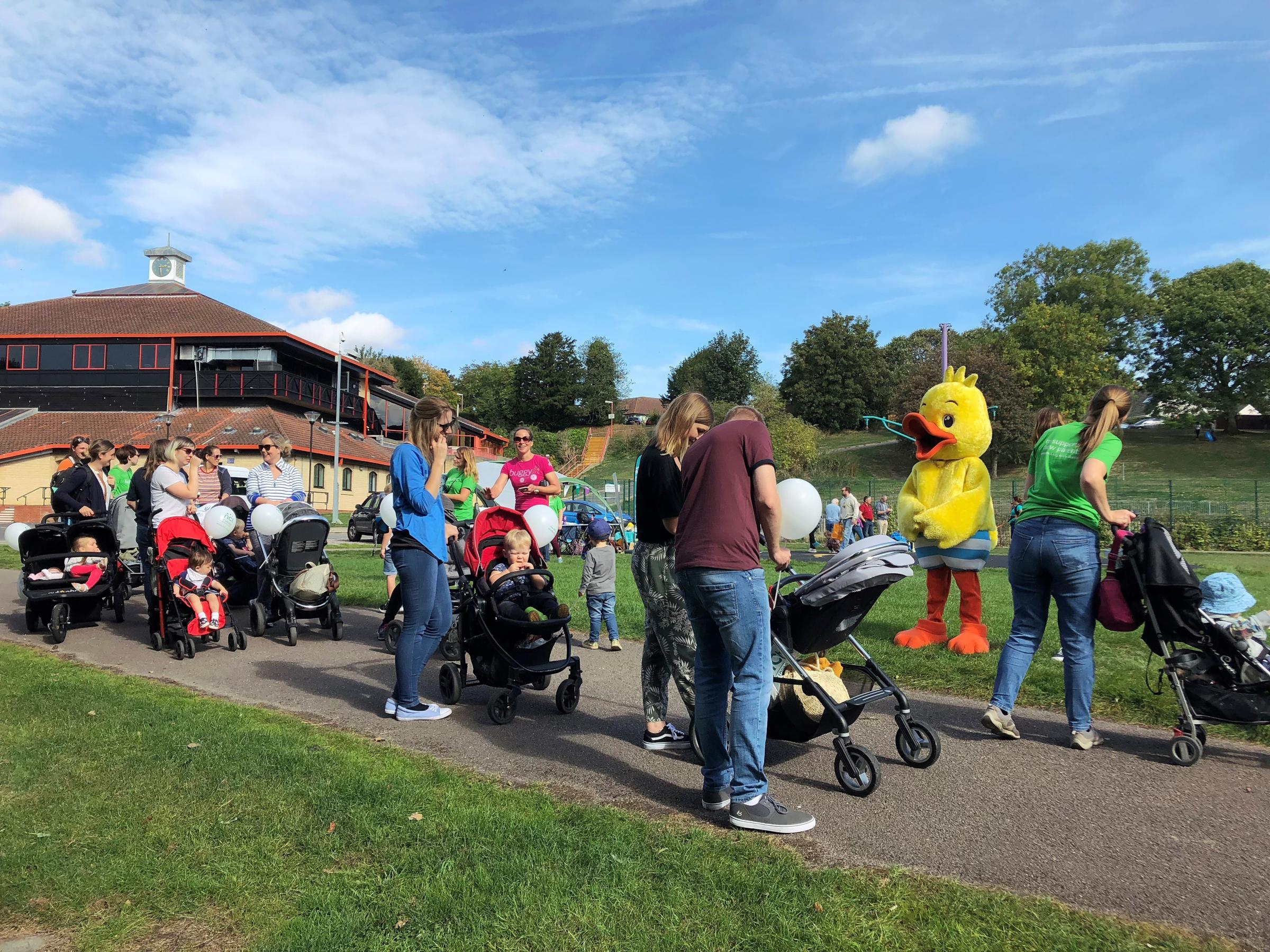 Puddle the Duck with families at the NCT Big Push