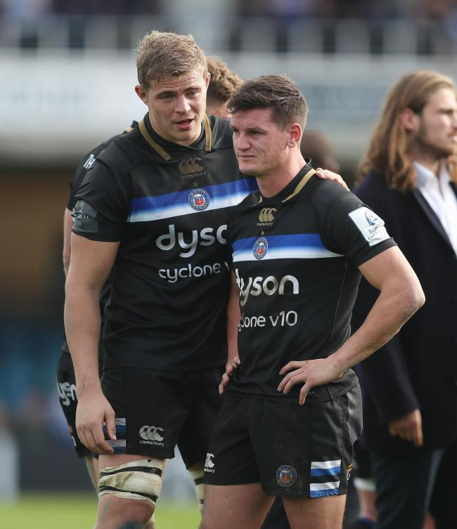 Bath's Freddie Burns is consoled by Tom Ellis after the European Champions Cup match at the Recreation Ground, Bath. PRESS ASSOCIATION Photo. Picture date: Saturday October 13, 2018. See PA story RUGBYU Bath. Photo credit should read: David Davies/PA